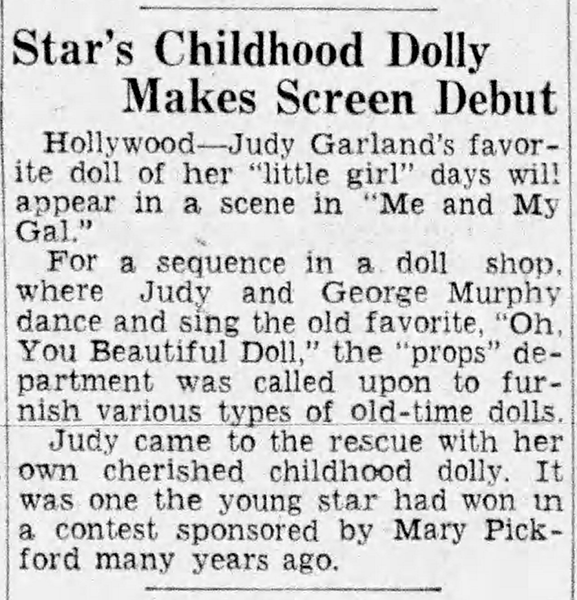 Judy Garland's childhood doll makes screen debut