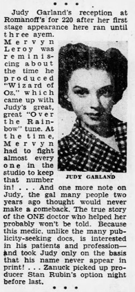 Judy Garland at Romanoff's April 21, 1952