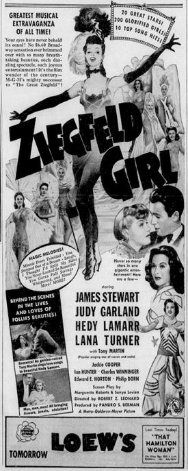 """Ziegfeld Girl"" starring Judy Garland, James Stewart, Hedy Lamarr, Lana Turner"