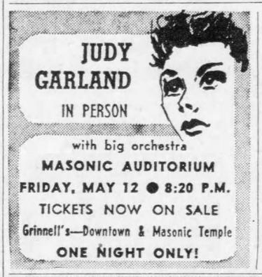 Judy Garland at the Masonic Auditorum