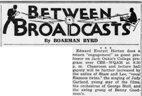 Judy Garland on the Jack Oakie's College radio show May 4, 1937