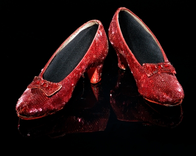 """Shoes. Ruby slippers from """"Wizard of Oz."""" 1979.1230.01."""