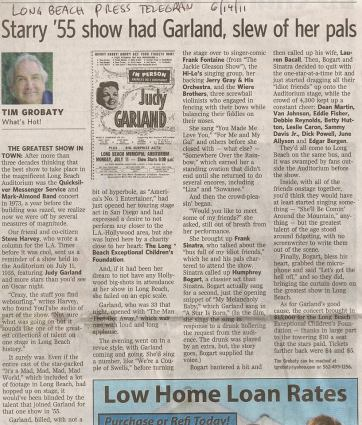 Judy Garland 2011 article about her show in Long Beach, CA
