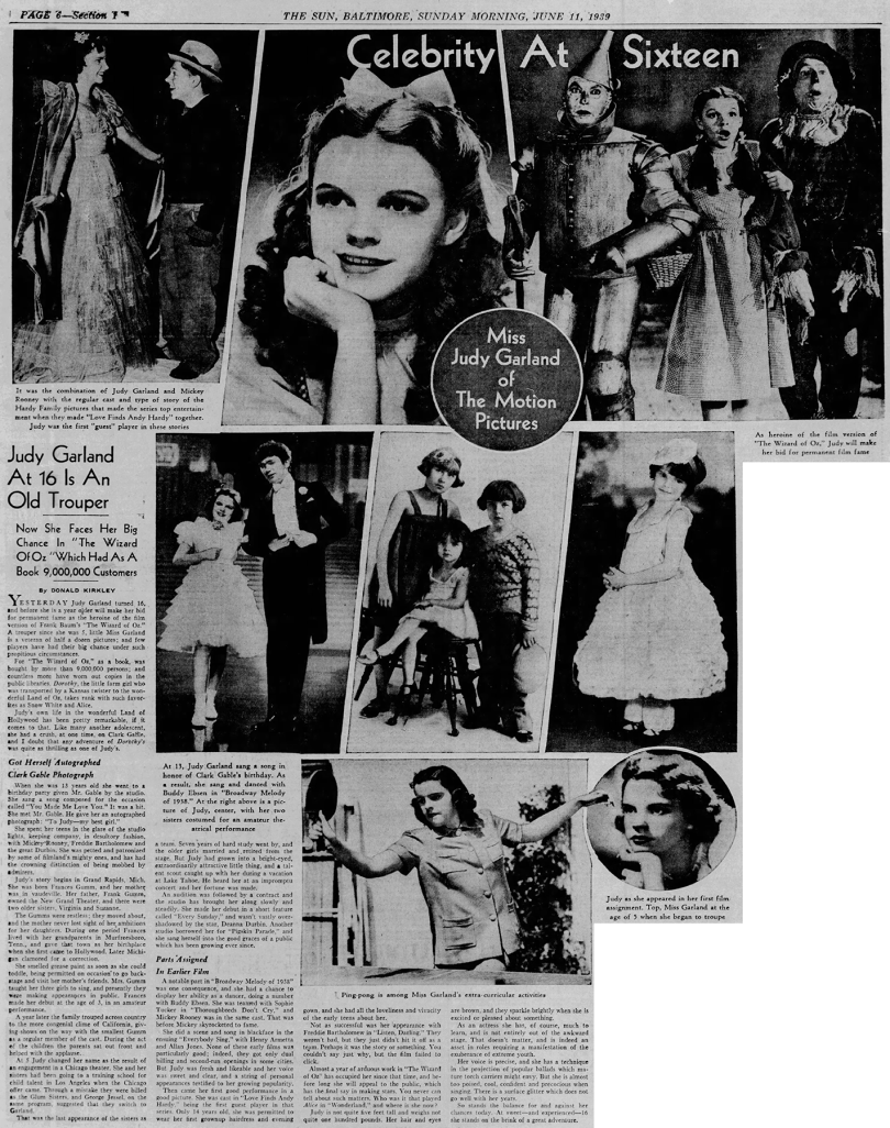 Judy Garland turns 16 (actually 17)