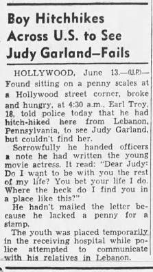 Teen hitchhikes across the country to meet Judy Garland - 1941