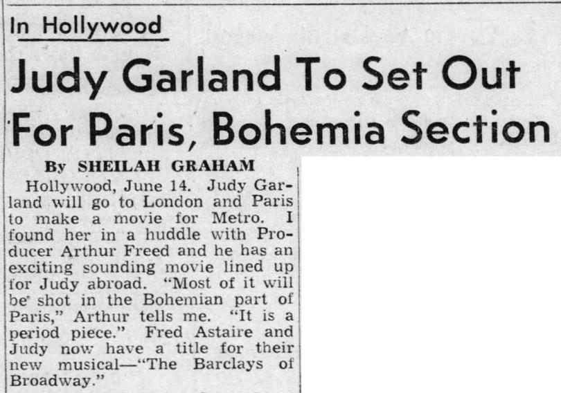 Judy Garland goes to Bohemian Paris