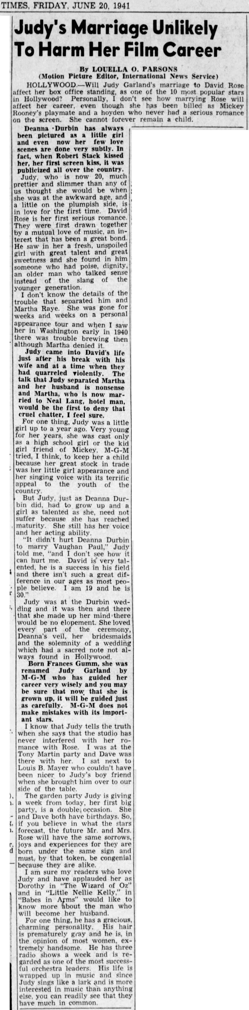June 20, 1941 MARRIAGE WON'T HURT CAREER Tampa_Bay_Times (St Petersburg FL)