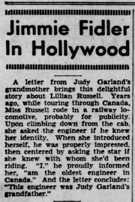 Jimmy Fidler's column about Judy Garland June 3, 1940