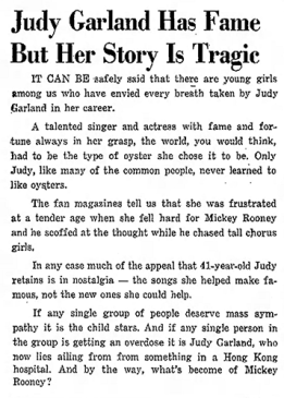 Judy Garland has fame but her story is tragic