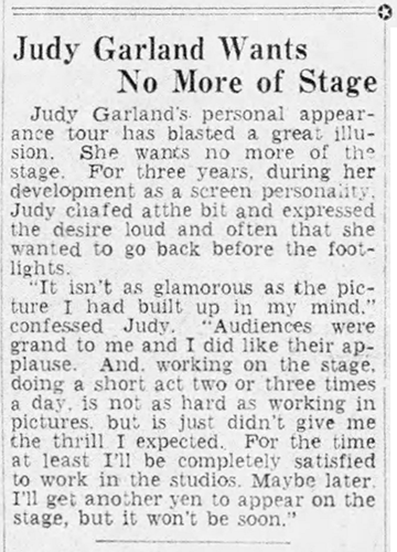 Judy Garland Wants No More of Stage