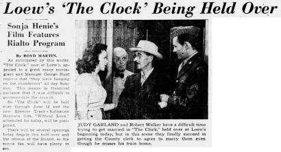 """""""The Clock"""" starring Judy Garland and Robert Walker"""