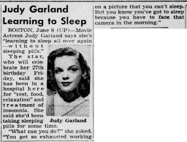Judy Garland Learning to Sleep