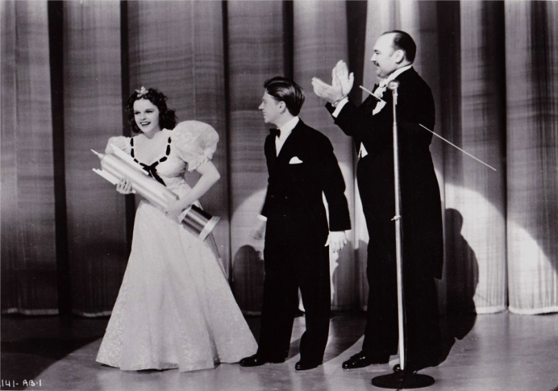 "Judy Garland, Mickey Rooney, and Paul Whiteman in ""Strike Up The Band"" 1940"