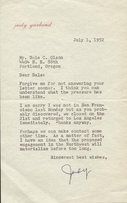 July 1, 1952 Fan Letter
