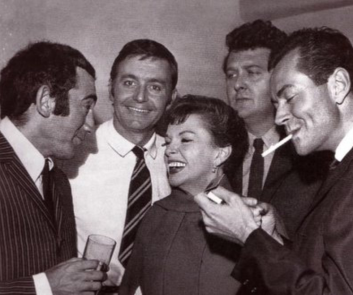 August-20,-1964-Lionel+Bart,+actor+Kenneth+Haigh,+librettist+Alun+Owen,+and+Mark+Herron+at+the+Liverpool+opening+of+B