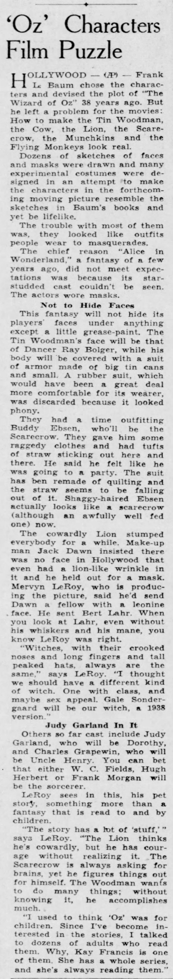 September 4, 1938 OZ CHARACTERS Democrat_and_Chronicle (Rochester)