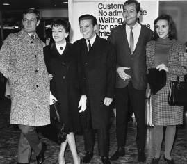 October 27, 1964 Peter Allen Chris Allen (Chris Bell) Mark Herron Liza Minnelli at airport.