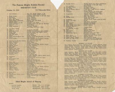 October 28, 1928 Meglin Kiddies Program 2