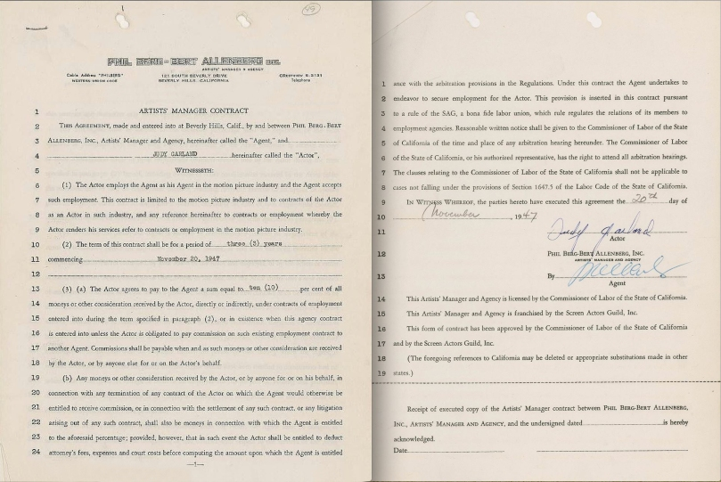 November 20, 1947 Contract with Agent