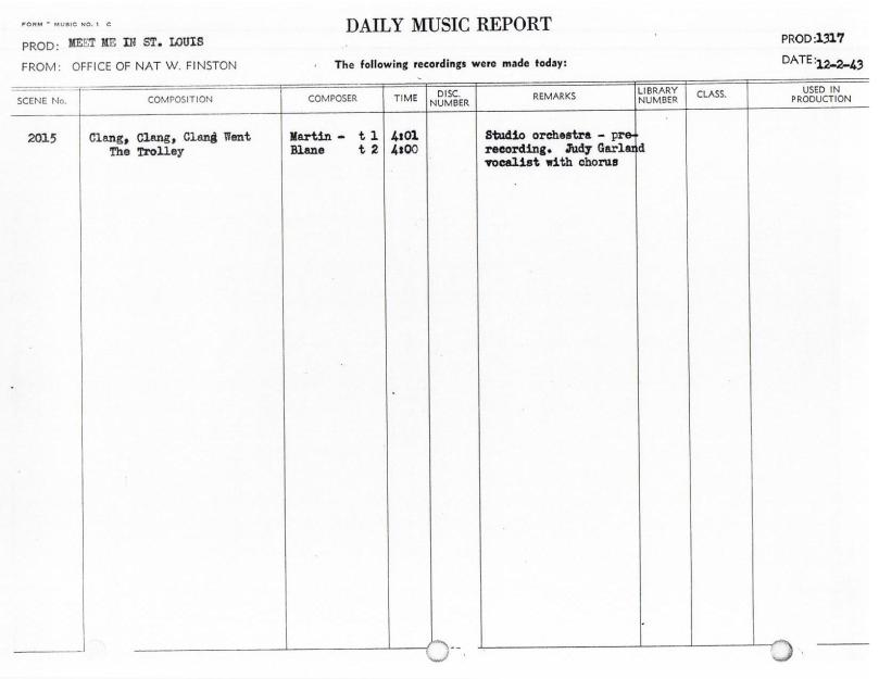 December 2, 1943 The Trolley Song